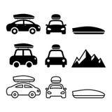 Samochodu dachu pudełko, dachowy stojak lub przewoźnik ikony ustawiający, royalty ilustracja