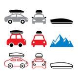 Samochodu dachu pudełko, dachowy stojak lub przewoźnik ikony ustawiający, ilustracja wektor
