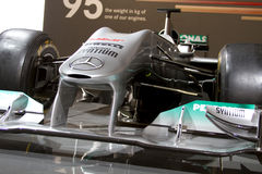 samochodu f1 frontowy Mercedes srebra skrzydło Fotografia Royalty Free