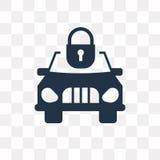 Samochodu i kłódki wektorowa ikona odizolowywająca na przejrzystym tle, ilustracji