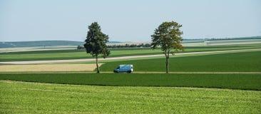 Samochodu i zieleni drzewa w polach, niebieskie niebo, szampan, Francja Fotografia Stock