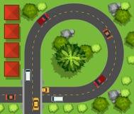 Samochodu jeżdżenie wokoło okręgu ilustracji