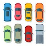 Samochodu odgórnego widoku wektoru mieszkanie Pojazd przewiezione ikony ustawiać Samochodu samochód dla transportu, auto samochod ilustracja wektor