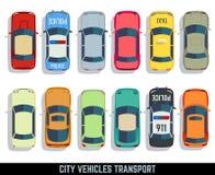 Samochodu odgórnego widoku miasta pojazdu transportu wektorowe płaskie ikony ustawiać ilustracja wektor