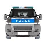 Samochodu policyjnego frontowego widoku biel świadczenia 3 d Zdjęcia Royalty Free
