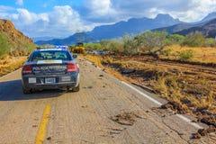Samochodu policyjnego mesicana po Tropikalnej burzy Juliette, Sierpień 28, 2013 Zdjęcia Stock