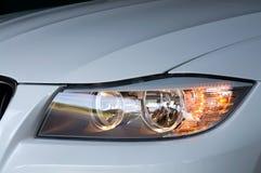 Samochodu reflektor przy nocą Obraz Stock