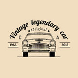 Samochodu remontowy logo z retro samochód ilustracją Wektorowa ręka rysujący rocznika garaż, samochód reklamy usługowy plakat, ka Fotografia Stock