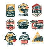 Samochodu rocznika stylu remontowe etykietki ustawiać, samochodu usługowy logo, odznak wektorowe ilustracje na białym tle ilustracja wektor