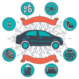 Samochodu usługowy tło z auto samochód naprawą i diagnostyków symbolami Rocznika retro stylowy infographics ilustracji