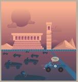 Samochodu wyścigowego dojechania meta royalty ilustracja