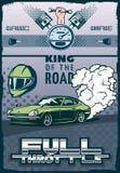 Samochodu wyścigowego plakat elementy motorsport obrazy royalty free