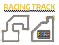 Samochodu wyścigowego sporta śladu krzywy drogi wektor Odgórny widok samochodowi sport rywalizaci konstruktora symbole Obwodu tra ilustracji