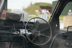 Samochodu wybuch i ogień obraz royalty free