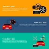 Samochodów usługowi sztandary z płaskim ikona setem Auto mechanika usługowego mieszkania ikony utrzymanie samochodu działanie i n Obrazy Royalty Free