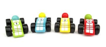 samochody ścigają się zabawki drewniane Zdjęcia Royalty Free