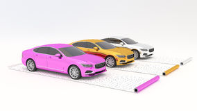 Samochody chromują zawijają na ekranowych rolkach Zdjęcie Royalty Free