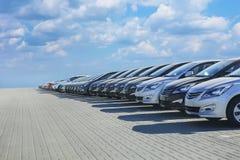 Samochody Dla sprzedaż zapasu udziału rzędu Fotografia Royalty Free