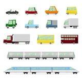 Samochody kolekcja, pojazdy w kreskówki mieszkaniu projektują Obrazy Royalty Free