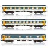 samochody miniaturyzują linia kolejowa pasażerskiego set Zdjęcia Stock
