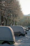 Samochody pod śniegiem Obrazy Royalty Free