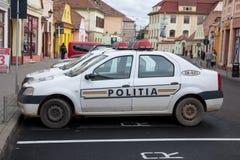 Samochody Rumuńskie siły policyjne parkować przed główną komendą policji Medias, w Transylvania obrazy royalty free