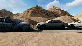 Samochody uszkadzali rozmaitość przed ruinami przy dniem zbiory