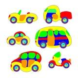 Samochody w bawją się styl Kolorowy i śmieszny wektor Jaskrawy dla dziecka Kreskówki innowacja Obraz Royalty Free