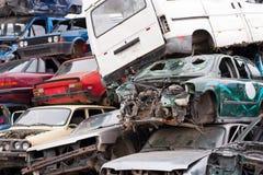 Samochody W Junkyard Fotografia Stock