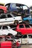 Samochody W Junkyard Zdjęcia Stock