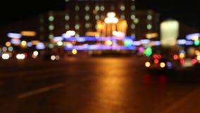 Samochody w nocy mieście zdjęcie wideo