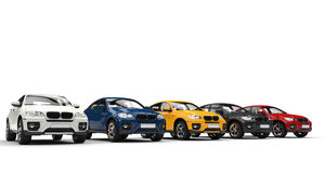Samochody W sala wystawowej (SUV) obrazy royalty free