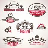 Samochody wyścigowi, bieżny emblemat i etykietka set, Obrazy Stock