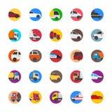 Samochody z ładunku i wysyłki ciężarówek mieszkania ikonami royalty ilustracja
