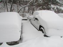 samochody zakrywali śnieg Styczeń 2016, usa Ð ' Obraz Stock