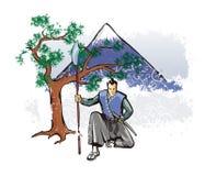 Samoeraien met spear Royalty-vrije Stock Afbeeldingen