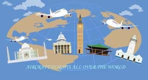 Samolotów loty po całym świat Obraz Royalty Free