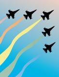 samolotów pięć sylwetek niebo royalty ilustracja
