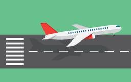 Samolot bierze daleko od pasa startowego ilustracja wektor