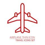 Samolot cienka ikona Ilustracja Wektor