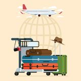 Samolot i odjazdy podróżujemy nieba i lotnisko bagażu tramwaju trav Obraz Stock