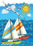 Samolot i statek - ilustracja dla dzieci Obraz Stock