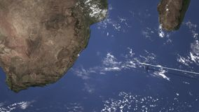 Samolot lata Durban, Południowy Africa od wschodu, 3D animacja zdjęcie wideo