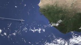 Samolot lata Freetown, Sierra Leone od zachodniej 3D animacji zdjęcie wideo