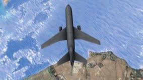 Samolot lata nad pustynnymi wyspami od above zbiory