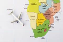 Samolot na mapie Obraz Royalty Free