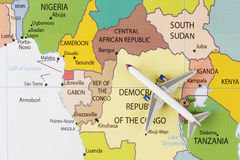 Samolot na mapie Obraz Stock