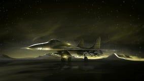 Samolot na pasie startowym w górach pozyskiwania ilustracyjny błyskawica nocne niebo Przemiany wireframe hologram photorealistic  royalty ilustracja