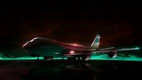 Samolot na pasie startowym w górach pozyskiwania ilustracyjny błyskawica nocne niebo Przemiany wireframe hologram photorealistic  ilustracja wektor