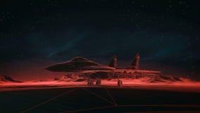 Samolot na pasie startowym w górach pozyskiwania ilustracyjny błyskawica nocne niebo Przemiany wireframe hologram photorealistic  Zdjęcia Royalty Free